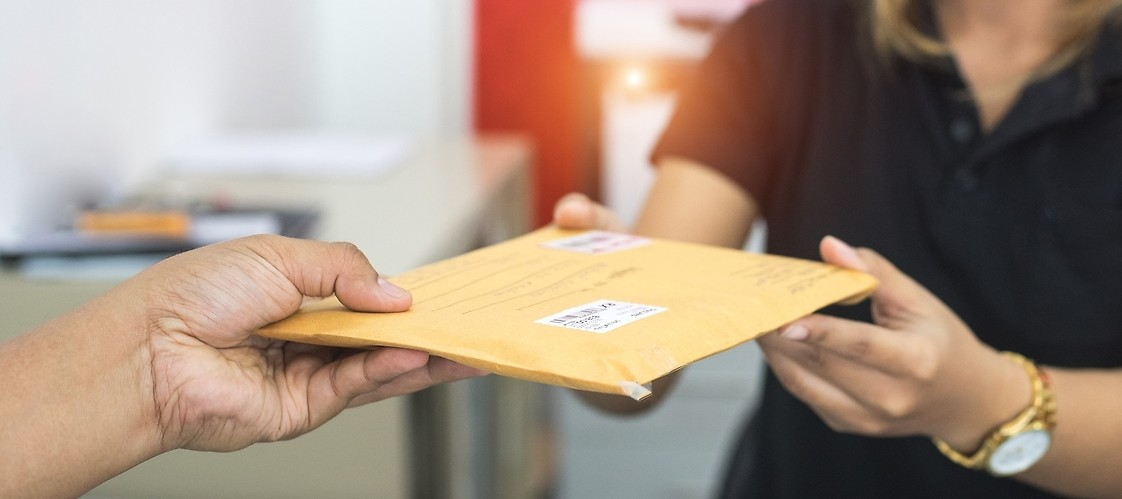 A person receiving the parcel