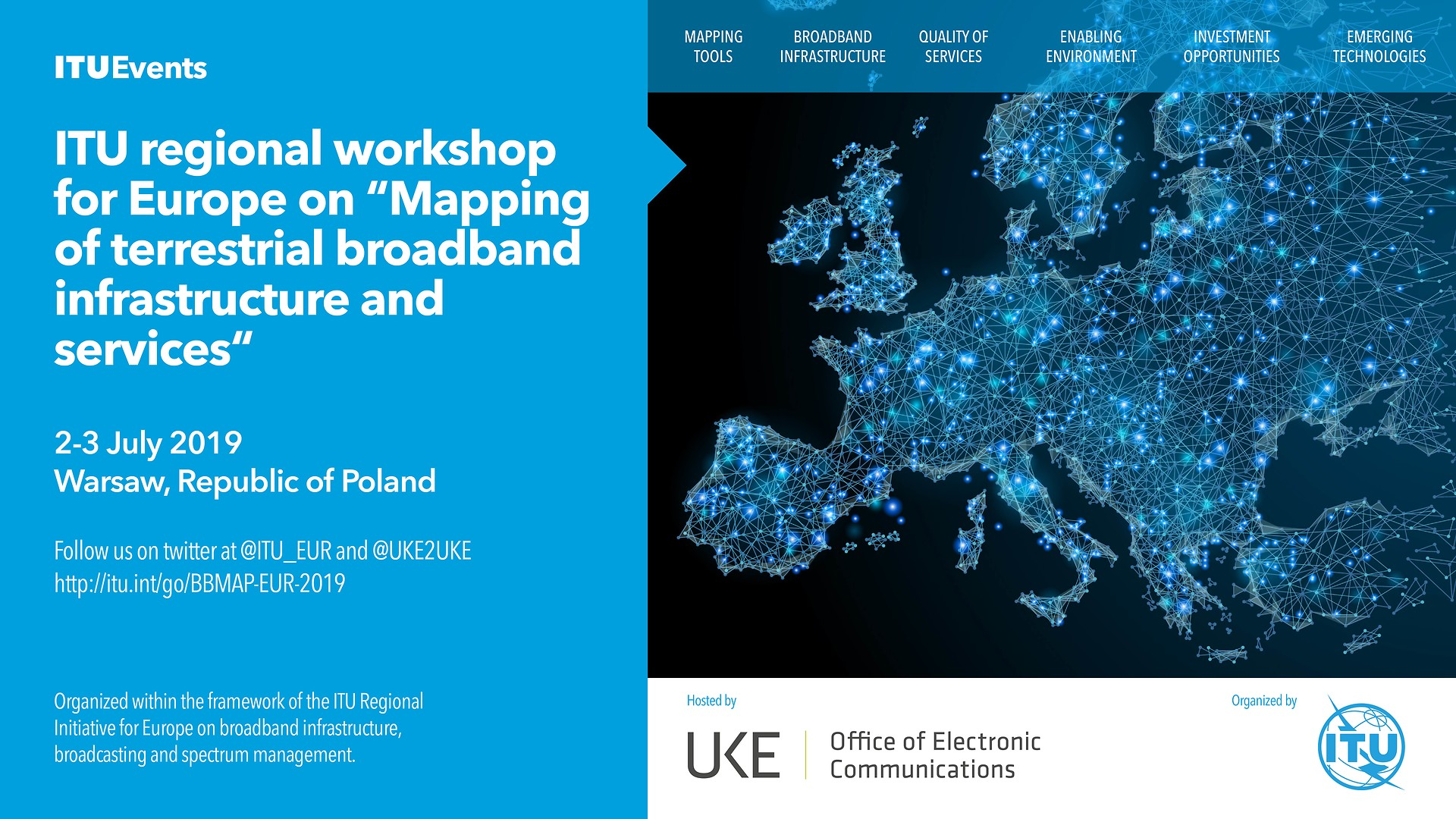 Plakat informacyjny warsztaty ITU Workshop for Europe on Mapping of Terrestrial Broadband Infrastructure and Services